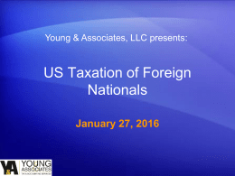 2015 Tax Workshop Presentation - The Office of International Affairs
