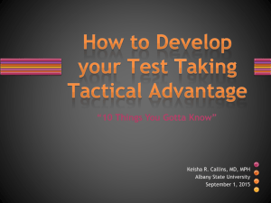 How to Develop Your Test Taking Tactical Advantage