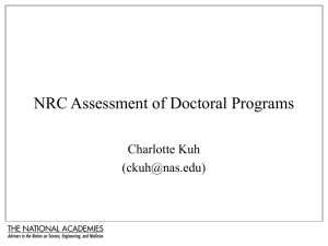 Proposed NRC Assessment of Doctoral Programs