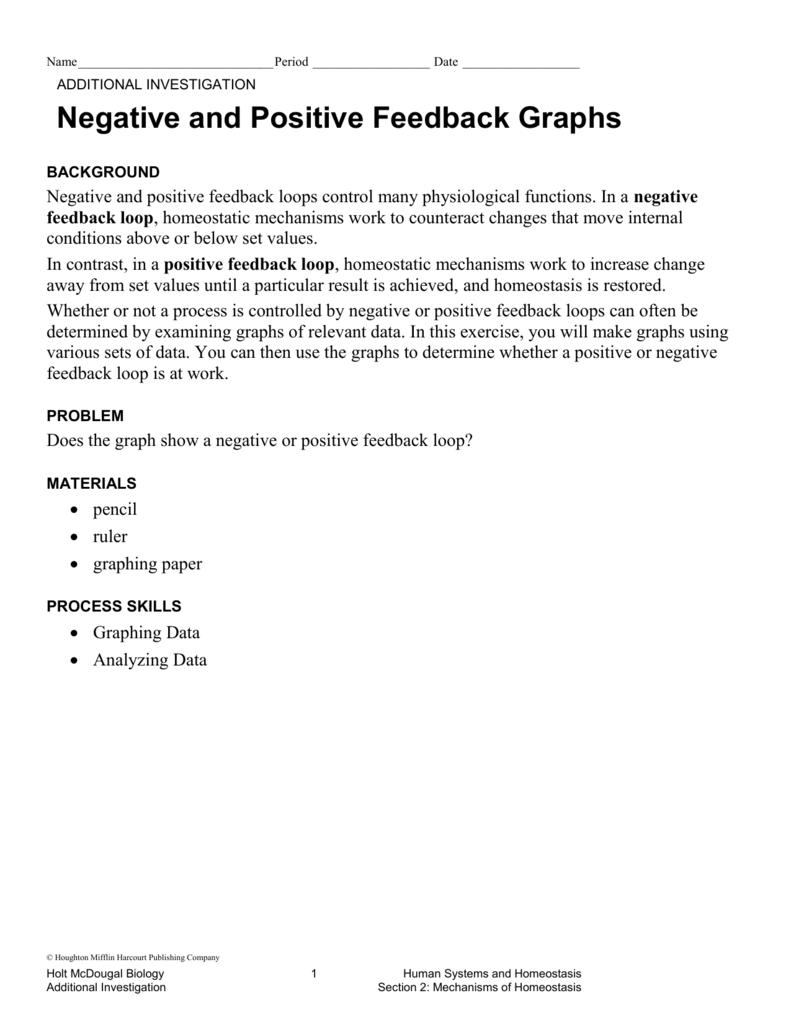 worksheet Feedback Mechanisms Worksheet neg pos feedback graphs