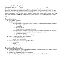 Astronomy Final Exam Study Guide Astronomy 1, Fall 2015 Name