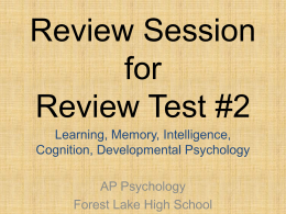 Review Session for Review Test #1