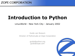 Introduction to Python - Python Programming Language – Legacy