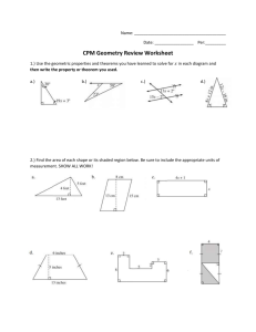 CPM Geometry Review Worksheet
