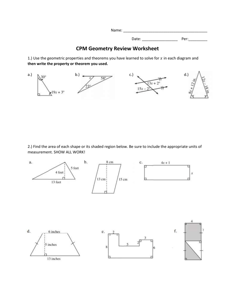 Worksheets Area Of Shaded Region Worksheet cpm geometry review worksheet 009179754 1 0e0ae3ff746b4b2ece59ad9a0296787f png