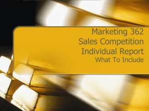 Marketing 362 Sales Competition Individual Report