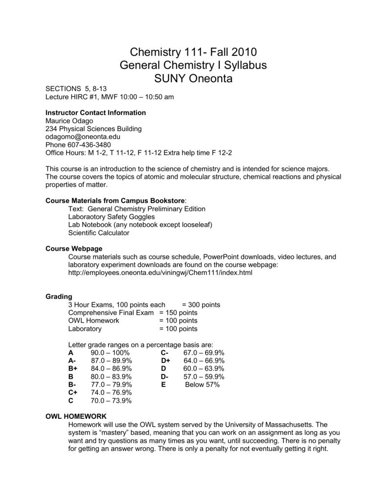 Chemistry 111- Fall 2010 General Chemistry I Syllabus SUNY