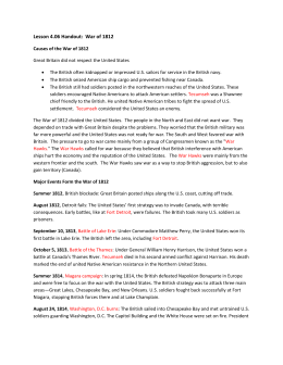 Lesson 4.06 Handout: War of 1812 Causes of the War of 1812 Great