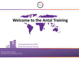 Welcome to the Antal Training