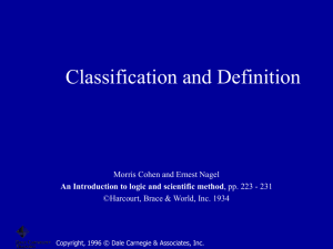 Classification and Definition