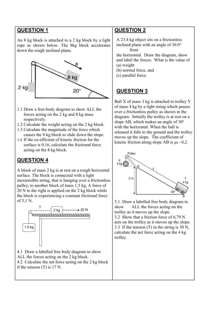 Grade 11 Worksheet (Forces)