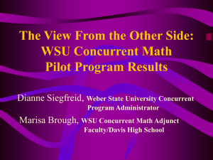 WSU Concurrent Math Pilot Program Results