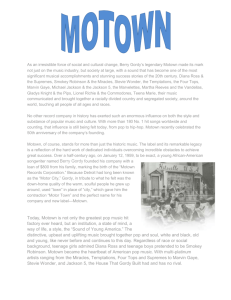 MOTOWN As an irresistible force of social and cultural change
