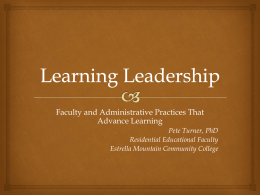 In the name of learning, what are the leadership practices
