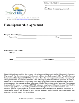 Fiscal Sponsorship Agreement