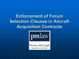 Enforcement of Forum Selection Clauses in Aircraft