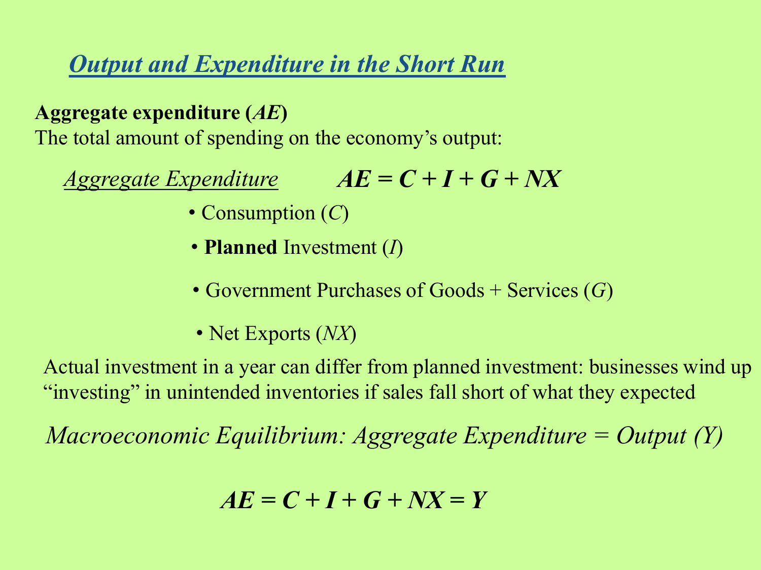 planned aggregate spending