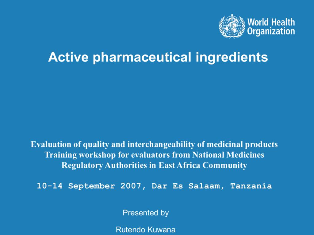 Active Pharmaceutical Ingredient (API)