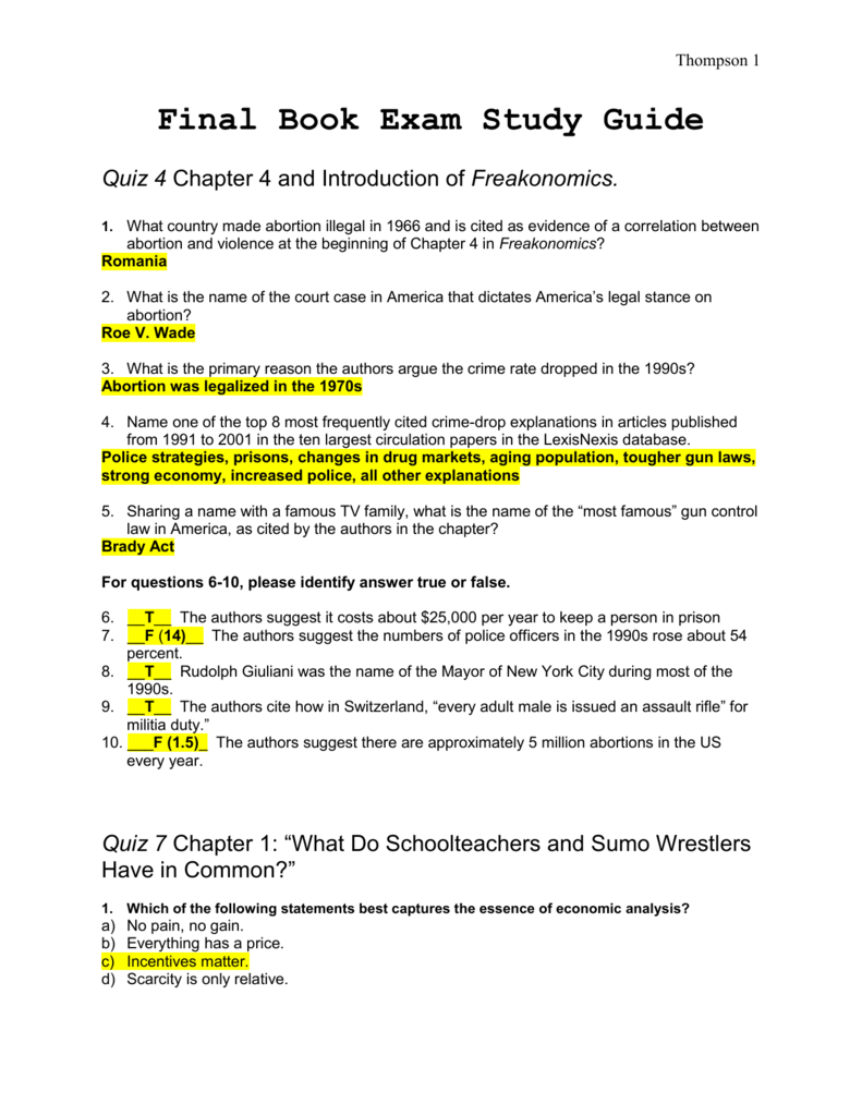 quiz 9 chapter 5 u201cwhat makes a perfect parent u201d rh studylib net Freakonomics Book Steven Levitt