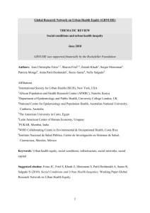 Working Paper Social Conditions and Health Inequities