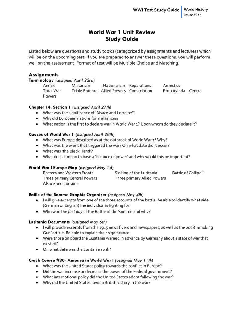 WWI Test Study Guide