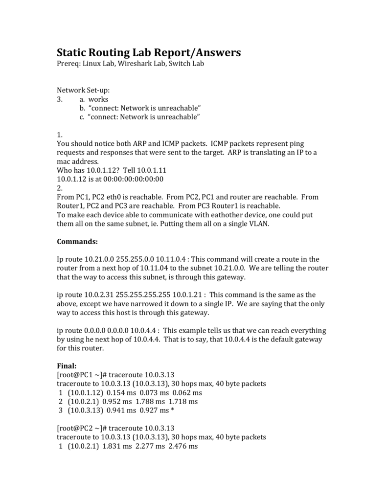 Static Routing Lab Report