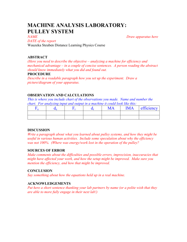 pulley lab report outline