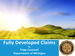 Fully Developed Claims Presentation by Tripp Cantwell