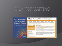 MLA format and citations (ppt.) - Ms. Brooks' World of Books