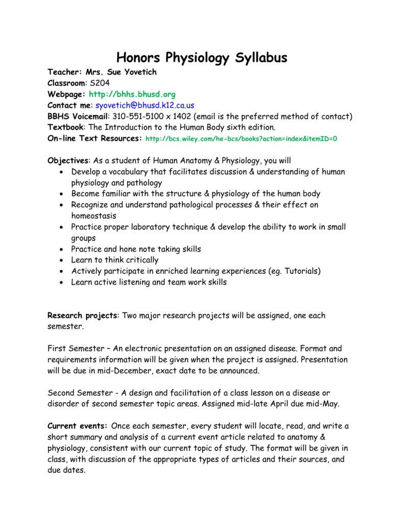 Honors Physiology Syllabus 10-11