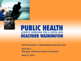 PrEP Promotion: A Washington State Overview