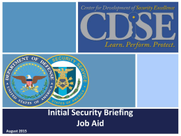 Customizable Initial Security Briefing