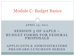 April 13, 2011 Session 5 of AAPLS – Budget Forms for Federal