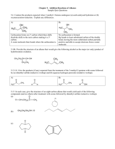 Chapter 5. Addition Reactions of Alkenes Sample Quiz Questions