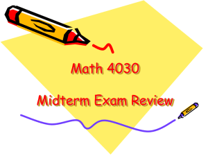 Math 4030 Midterm Exam Review