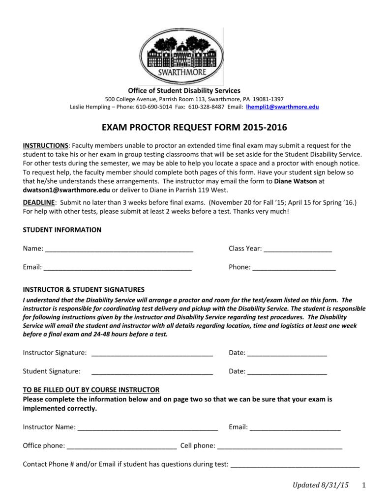 Exam Proctor Request Form [doc]