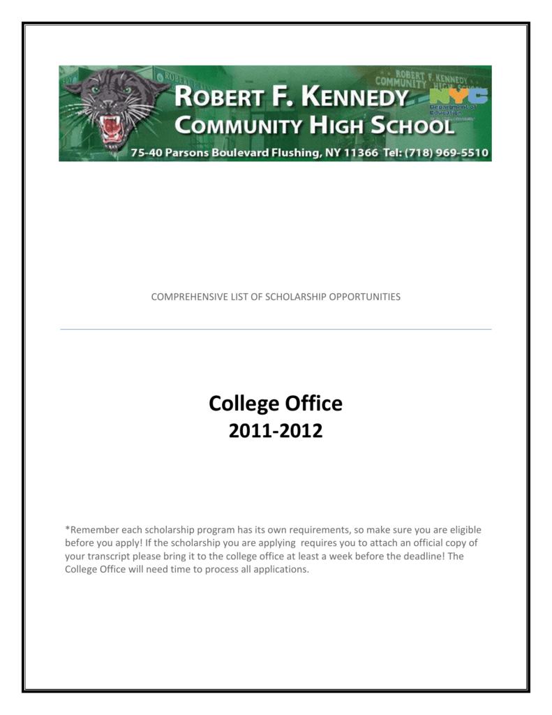Comprehensive List Of Scholarship Opportunities