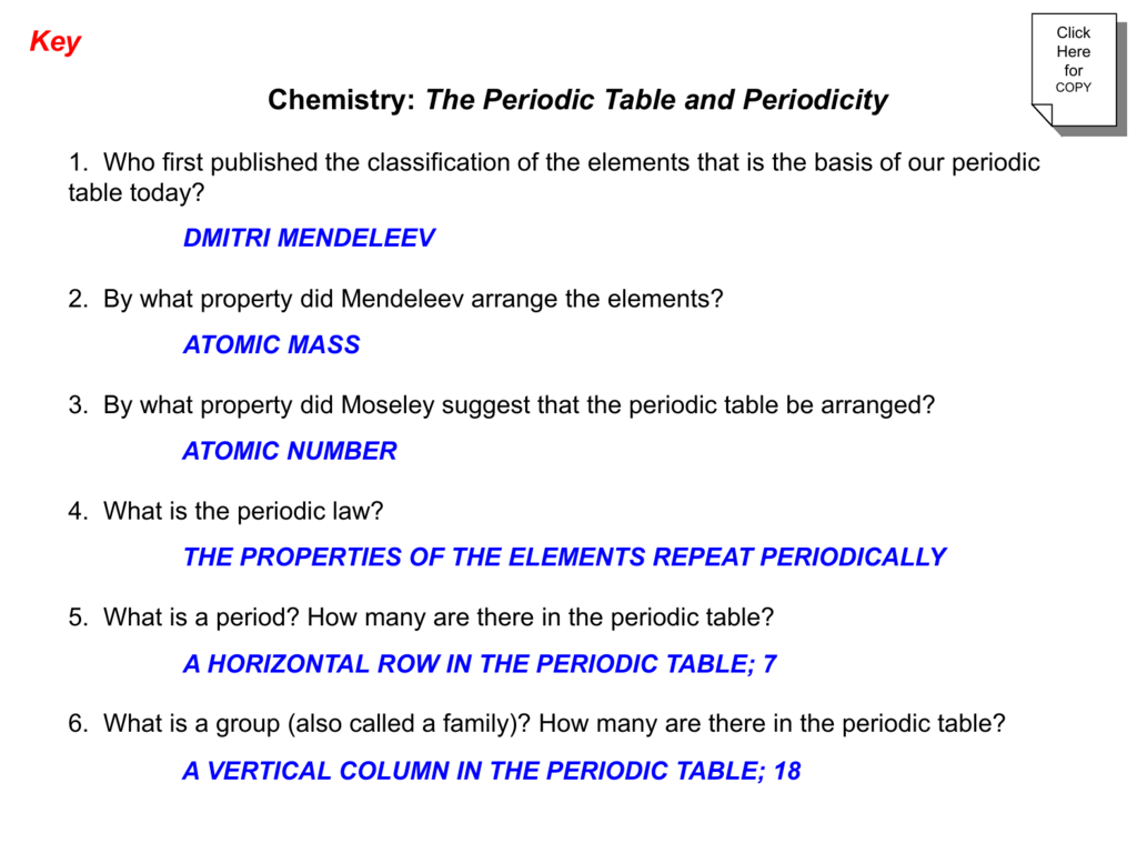 textquestions - First Periodic Table Arranged By