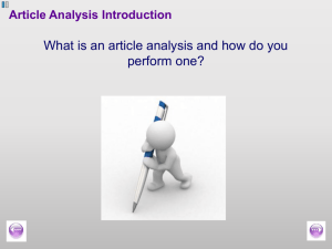 an Article Analysis Introduction