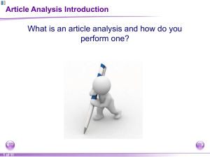 a Article Analysis Introduction PPT