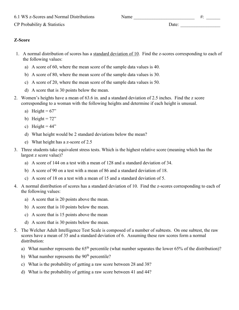 Worksheets Z-score Worksheet z score practice worksheet