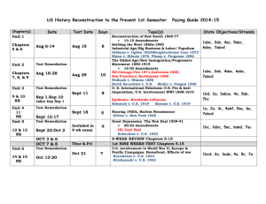 US History 1st Semester Pacing Guide
