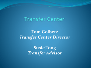 TRANSFER SERVICES PROGRAM OVERVIEW