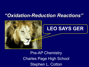 Oxidation-Reduction Reactions - Chemistry