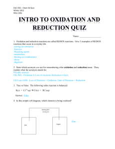 intro to Oxidation and reduction quiz - ESCI350-351-2012