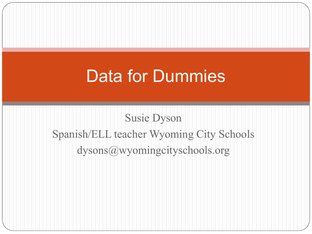 Data For Dummies Ppt