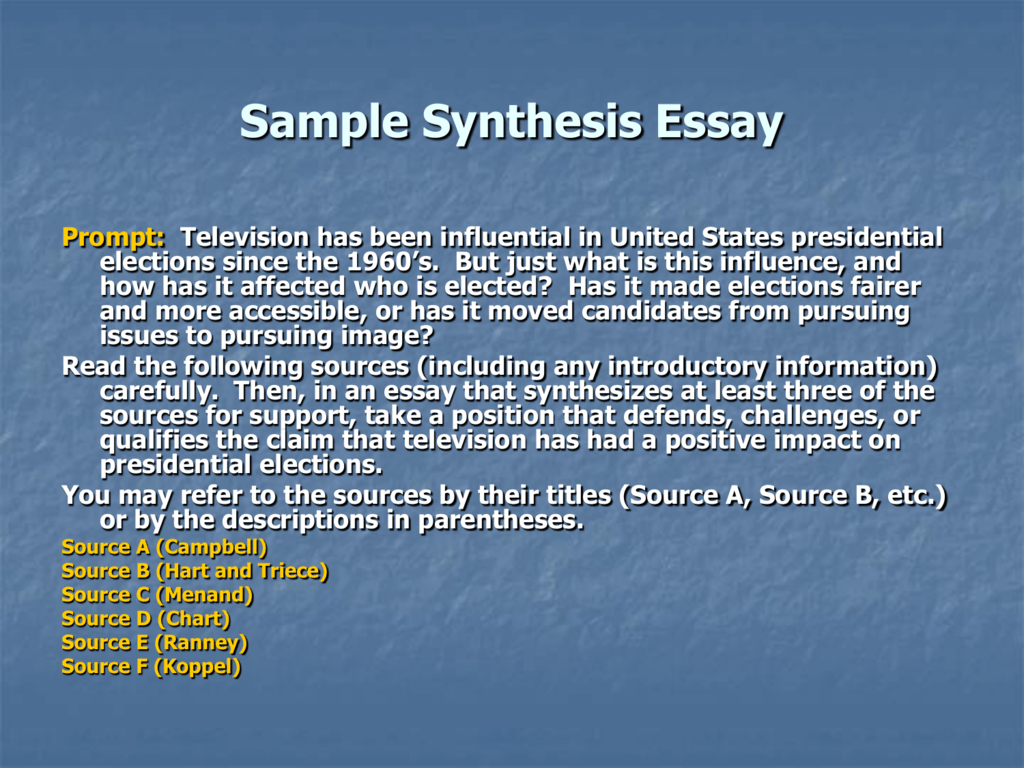sample synthesis essay question