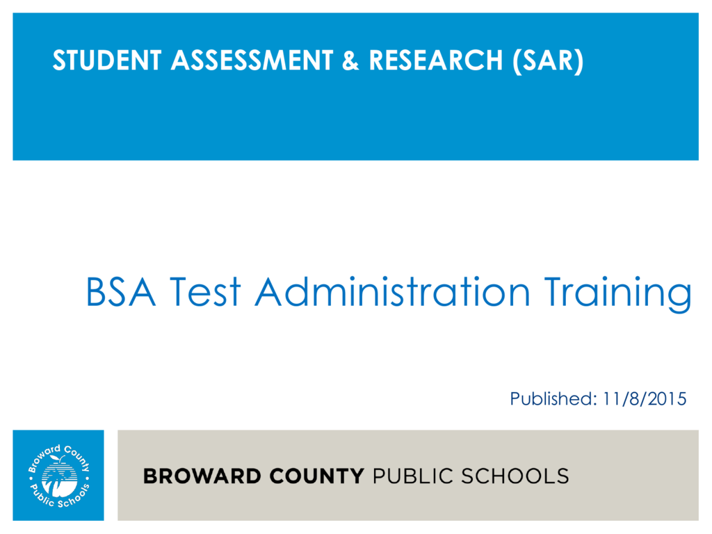 BSA Test Administration Training