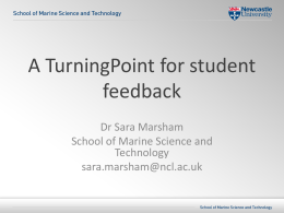 Sara Marsham - A TurningPoint for student feedback
