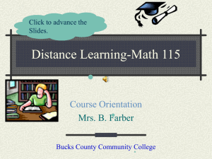 Distance Learning - Bucks County Community College